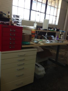 My Polymer worktable is one of 4 separate work areas in my part of the studio