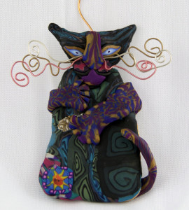 My cat ornament, after a class from Layl McDill on making these.