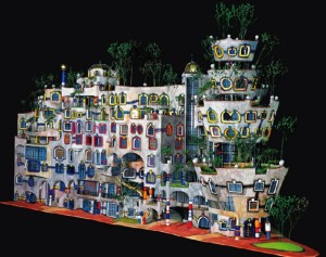 "Hundertwasser- Model for Hohe-Haine (High Groves), Dresden, 1998. hundertwasser.at ""The colourful, the abundant, the manifold, is always better than mediocre grey and uniformity."""
